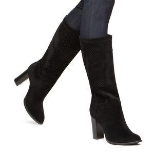 Shoedazzle Black Faux Suede Mid Calf Margot Boots